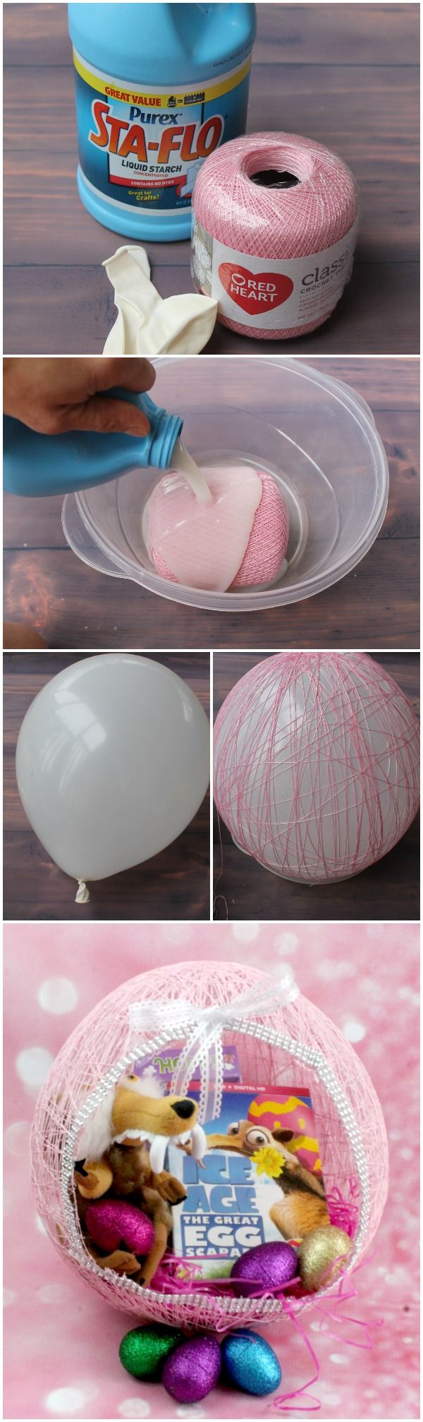 DIY String Easter Egg Baskets are super easy to make and very inexpensive. This Easter Egg Yarn Balloon Basket is a great DIY Easter Basket for Kids. #IceAgeEaster #AD
