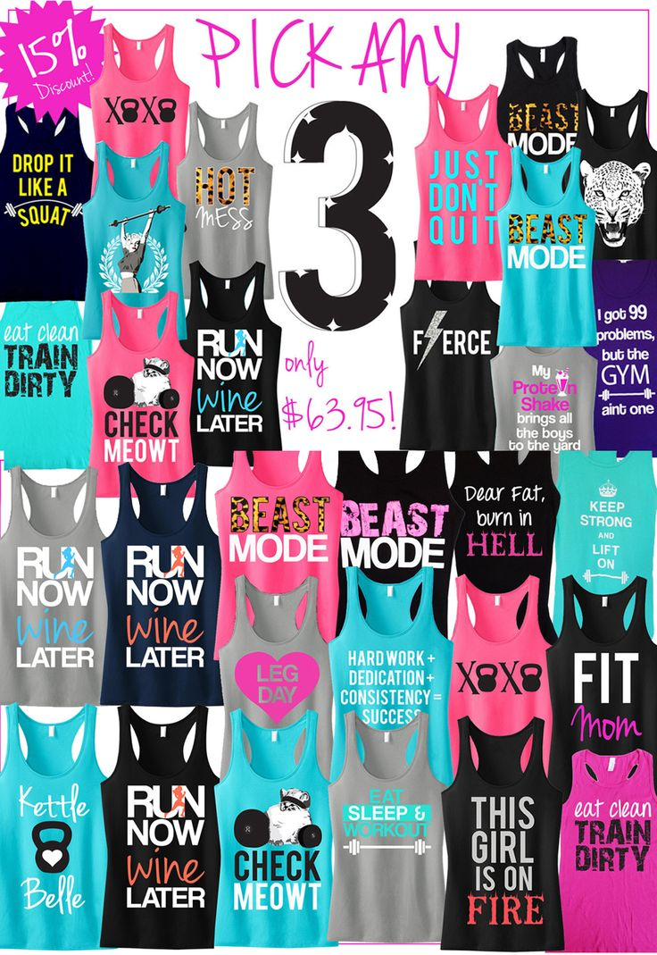 using these saying for when I make my own with iron on letters :) Tons of Cool colorful #Workout Tank Tops by #NoBullWomanApparel. Pick Any 3 for only $63.95 on Etsy. https://www.etsy.com/listing/166153381/3-workout-fitness-tank-tops-15-off?ref=shop_home_feat_4