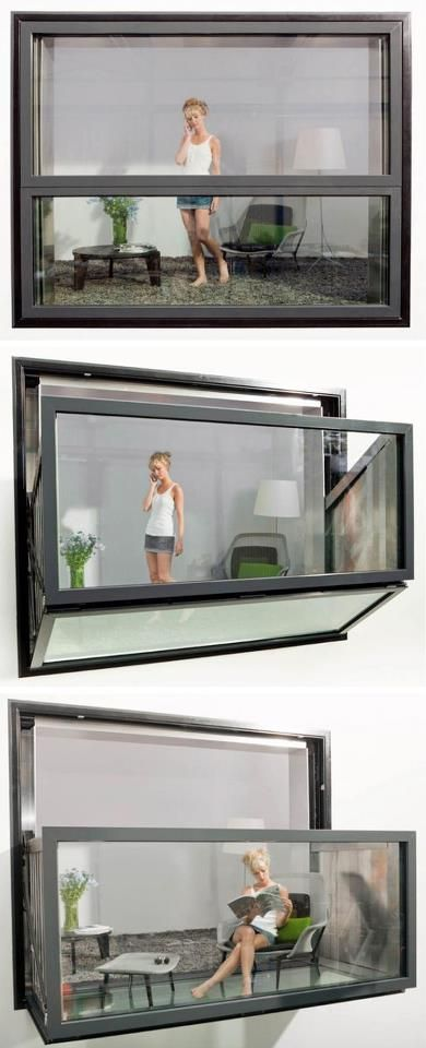 Does it really exist?: Instant balcony, the  window and glass unit unfolds like those in campers to become an open balcony.