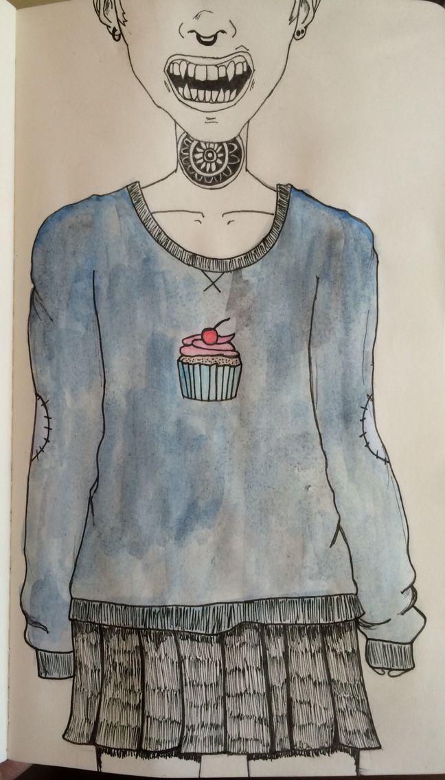 Watercolour cupcake sweater