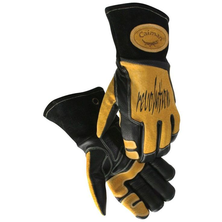 1832 - Black Cow Grain Welding Gloves from Caiman - Premium Top Grain Leather - Exclusive Boarhide™ wraparound index trigger patch, palm and lean-on patch - Exclusive Caiman® Cool-Design utilizes corr