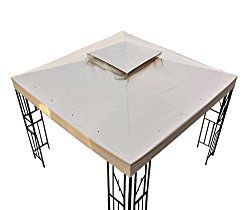 10′ X 10′ Gazebo Replacement Canopy Top Cover – Beige, Double-teir