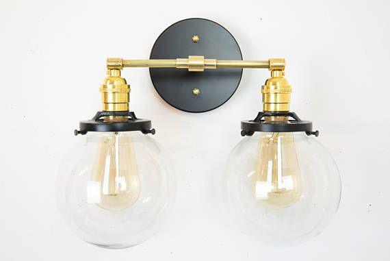 Globe Vanity Lighting -Modern Vanity Light - Bathroom Lights - Mid Century Modern Lighting - Wall Sconce - Brass Black Wall Light Fixture