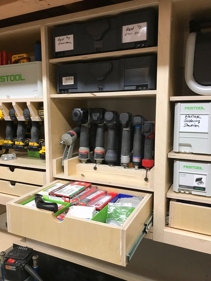Garage Tooling Organization - Mini chaos theory cabinets - systainer, nail gun, and consumable storage.  Shop shelves, nailer, drawer, plywood, maple, festool, systainer, tanos, Dewalt, drill