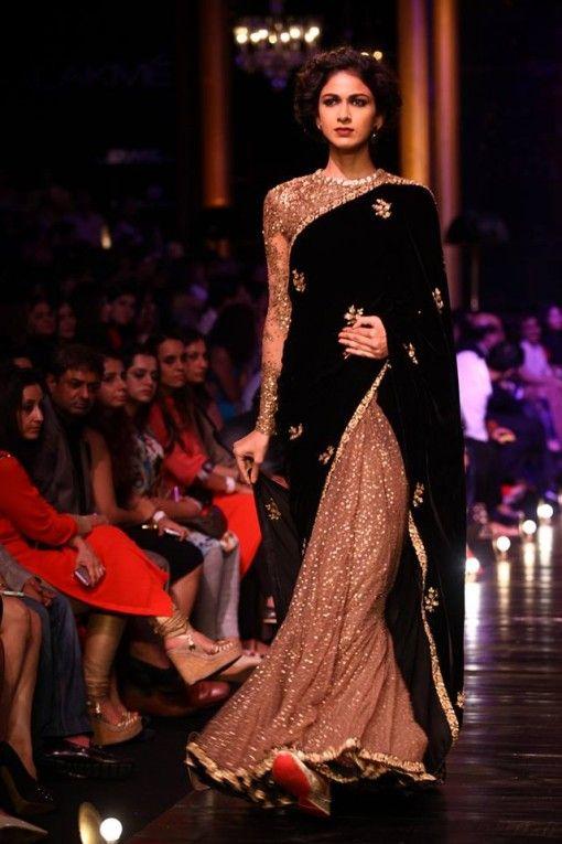 Lakme Fashion Week Sabysachi beige glitter and black sari