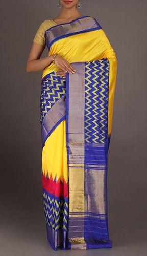 Vasudha Magical Waves On Border Ikat Pochampally Silk Saree