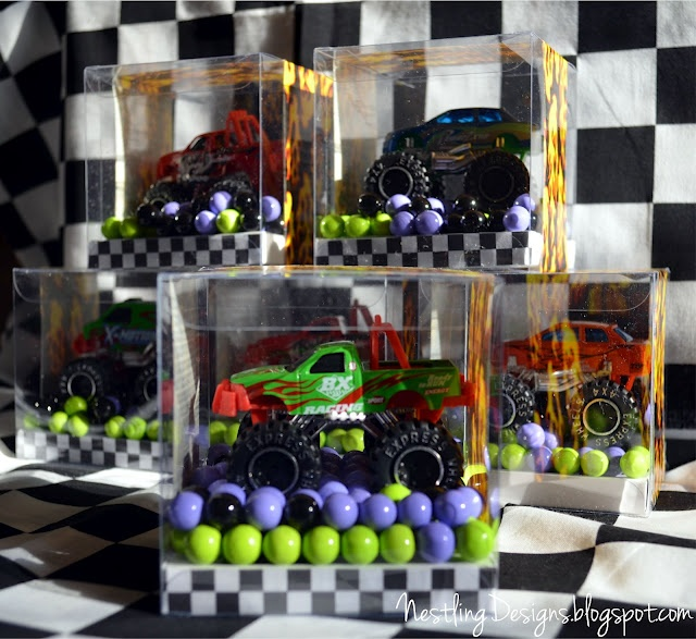 Favors-Dollar Store Trucks, candy in box.  #monster truck #party