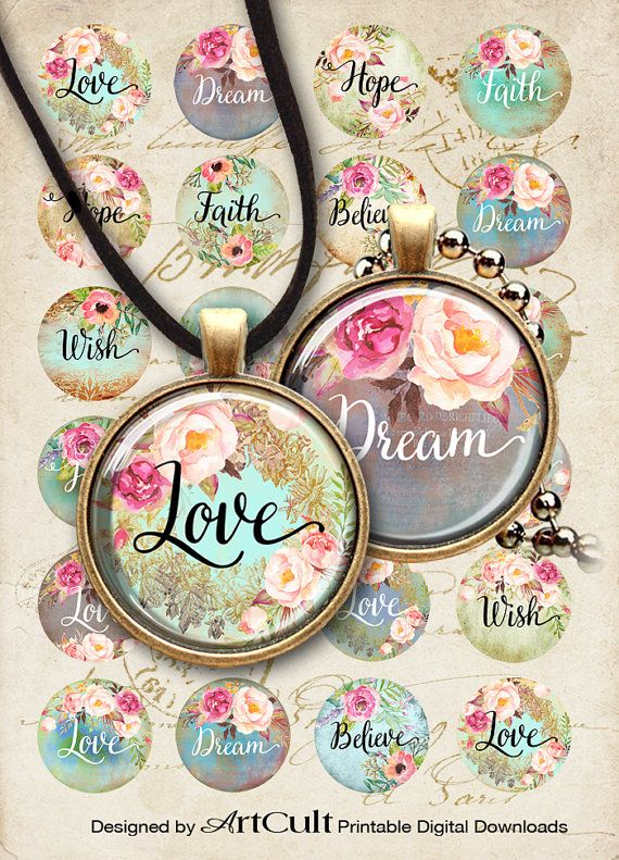 """LOVE DREAM HOPE - 1"""" and 1.5"""" size Circle Images Printable Downloads Digital Collage Sheets for pendants, bezels, cabochon settings, magnets"""