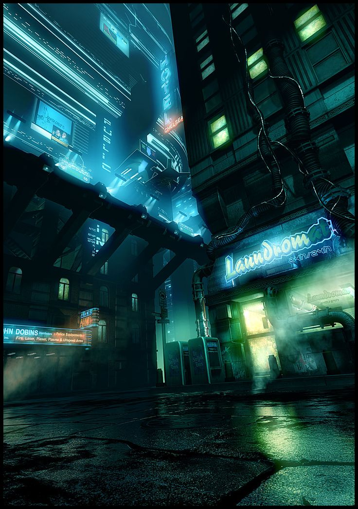 Cyberpunk Atmosphere, Neon, Future Noir, Rain, Sci-Fi, Night City, Cyber City, Futuristic, by François Baranger