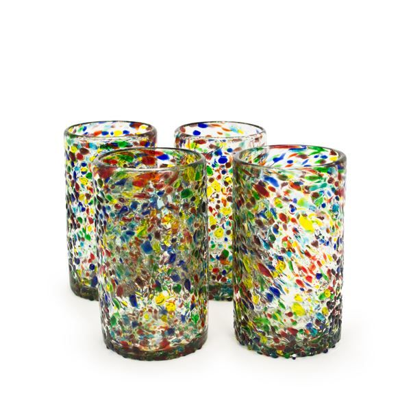 Confetti Recycled Pint Glass - Set of 4, reg. $25,  handblown recycled glass, made in Mexico
