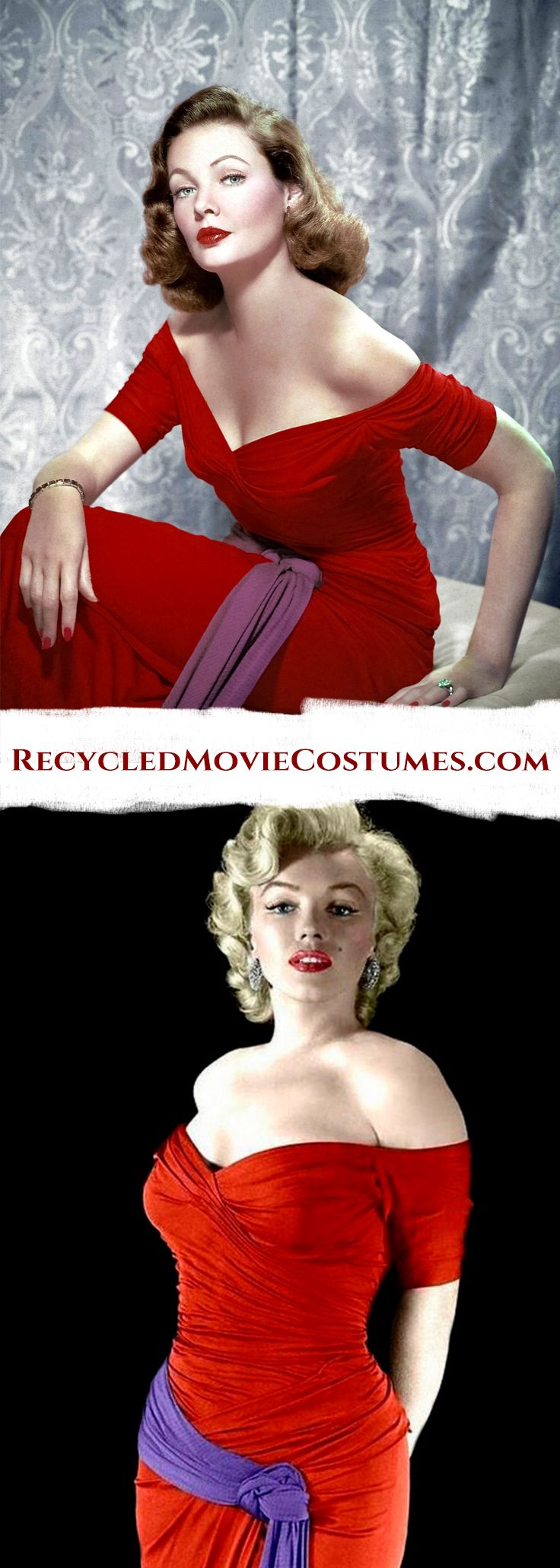 This beautiful red gown was worn by both Gene Tierney and Marilyn Monroe. Check out hundreds of other Recycled Costumes at Recycledmoviecostumes.com  #GeneTierney #OnTheRiviera #MarilynMonroe #MonkeyBusiness #OlegCassini #Hollywood #RecycledMovieCostumes #RecycledCostumes #ReusedCostumes