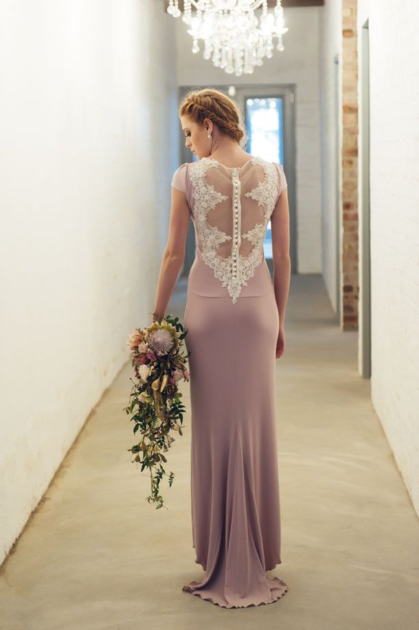 Dress style Sophie in lilac with lace back detail by Janita Toerien. Photo by Claire Harries, Claire Thomson and Angelique Smith