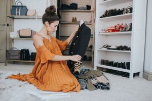 What could be more inspiring than a rainbow shoe wall or a lineup of your favorite bags? Tour this closet turned office of a fashion blogger.