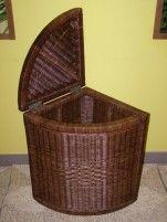 Indo ratanový prádelní koš rohový - tmavý