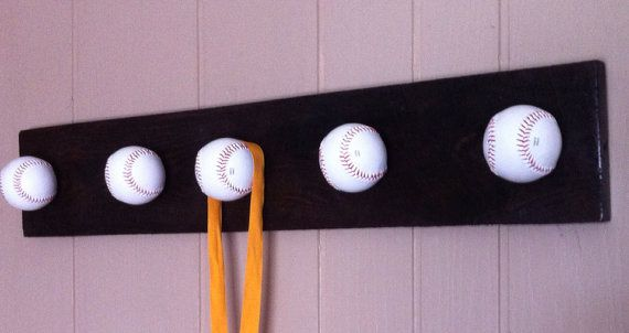 Baseball rack shelf award/medal display. Sports by VeraJanesGifts