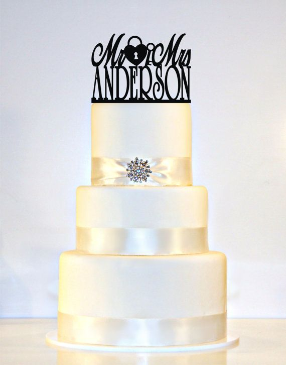 Items Similar To Wedding Cake Topper Or Sign Heart Lock Key Monogram Personalized With Mr Mrs And YOUR Last Name On Etsy