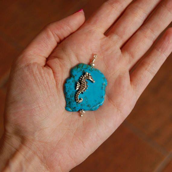 Stunning howlite pendant Sea horse pendant Sterling silver