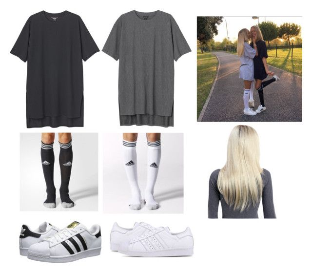 """Lisa and Lena"" by pandabear222 ❤ liked on Polyvore featuring Monki, adidas Originals and adidas"