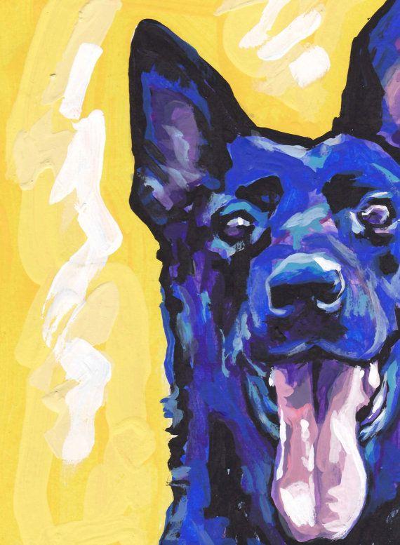 Black German Shepherd Dog print by BentNotBroken