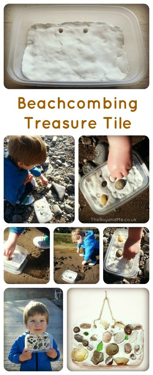 Beach Treasure Tile http://www.theboyandme.co.uk/2013/05/21/beachcombing-treasure-tile-100-days-of-play/ A great idea with collected beach treasure