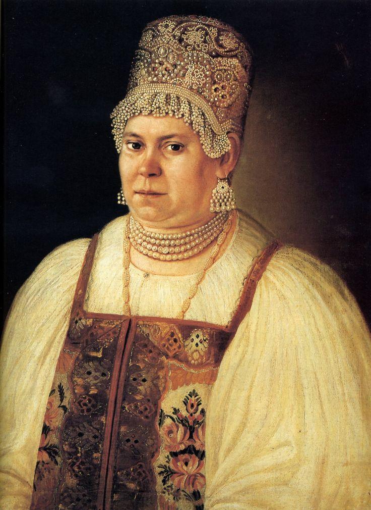 Портрет купчихи с жемчужным ожерельем. Неизвестный худ. 1820 г. ГИМ
