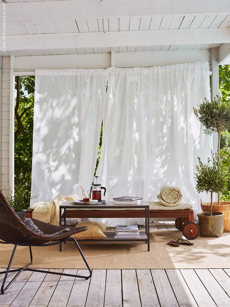 White curtains outdoor