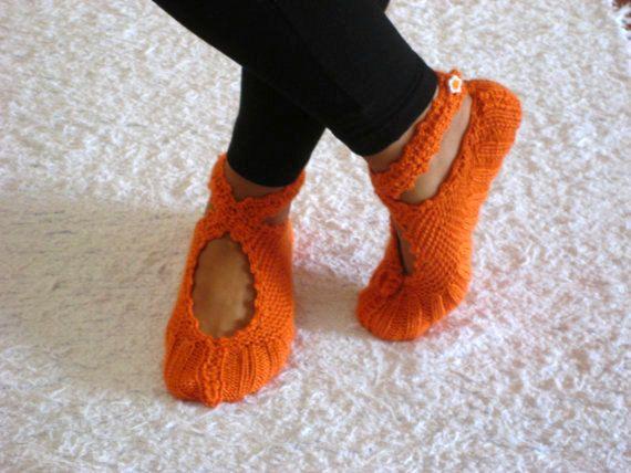 <3 these!  I want... Orange Ballerina Slippers by aykelila on Etsy, $25.00