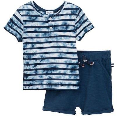 Splendid Tie Dye Short Sleeve Henley Short Set (Baby Boys)