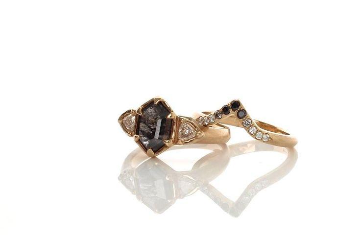 Hexagon Diamond Ring & Ombré Wedding Band - Yuliya Chorna Jewellery | Handmade custom jewellery