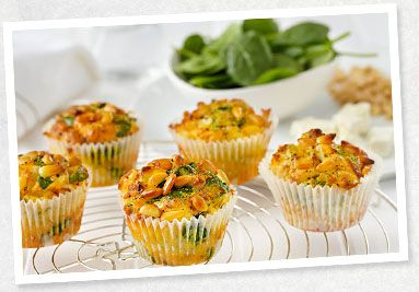 Spinach, leek and feta muffins