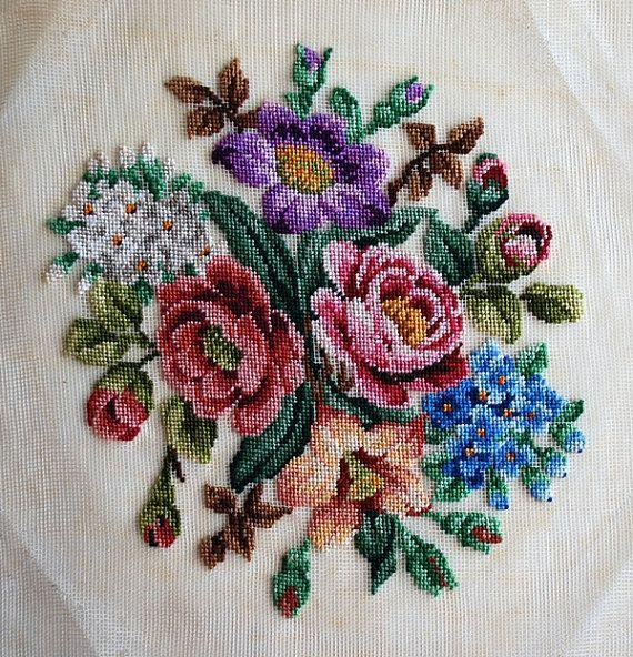 Vintage Silk Embroidered Panel Vintage Goblen by honeyandsea, $30.00