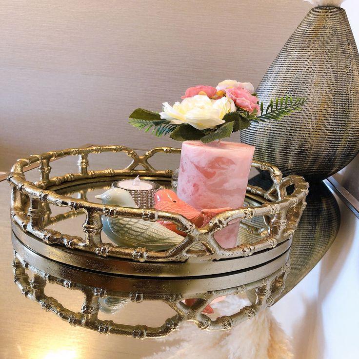 Inspire Home Decor Gold Brass Finish, 30cm Round Mirror Tray