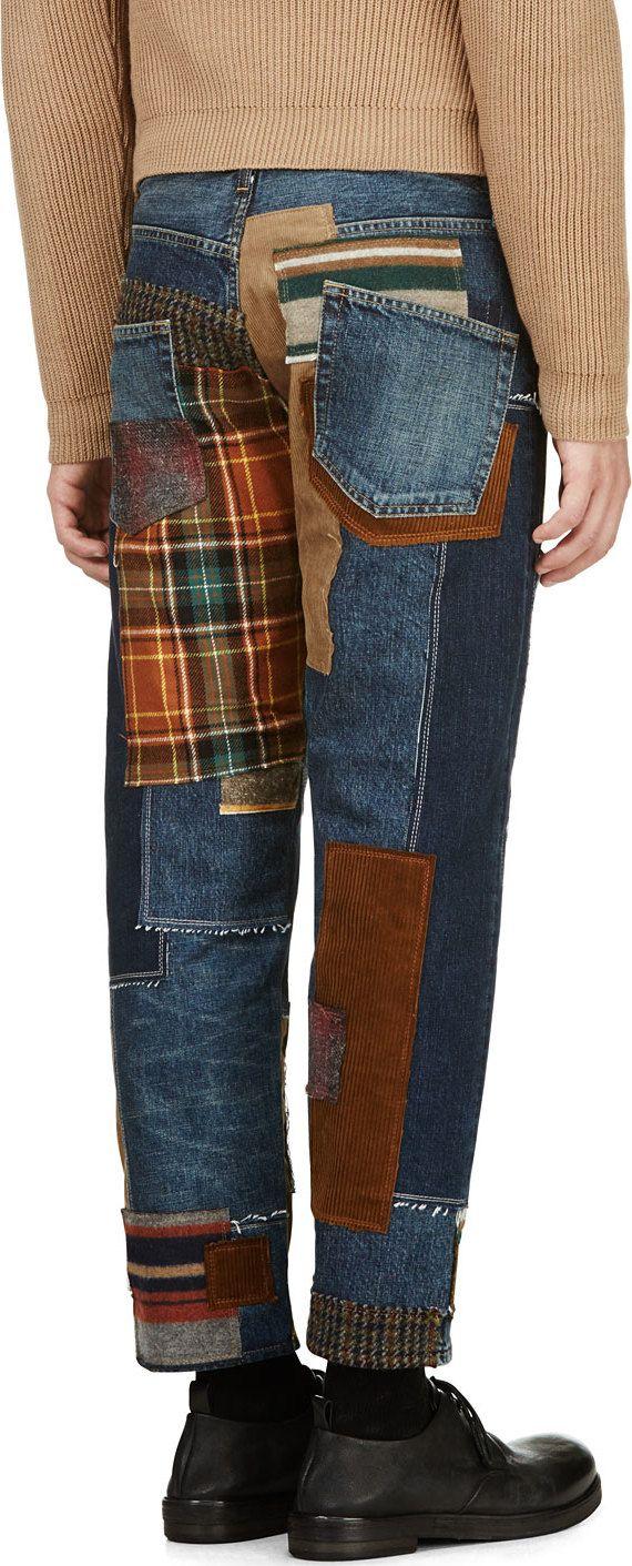 Junya Watanabe: Blue Patchwork Jeans --like patchwork cuffs
