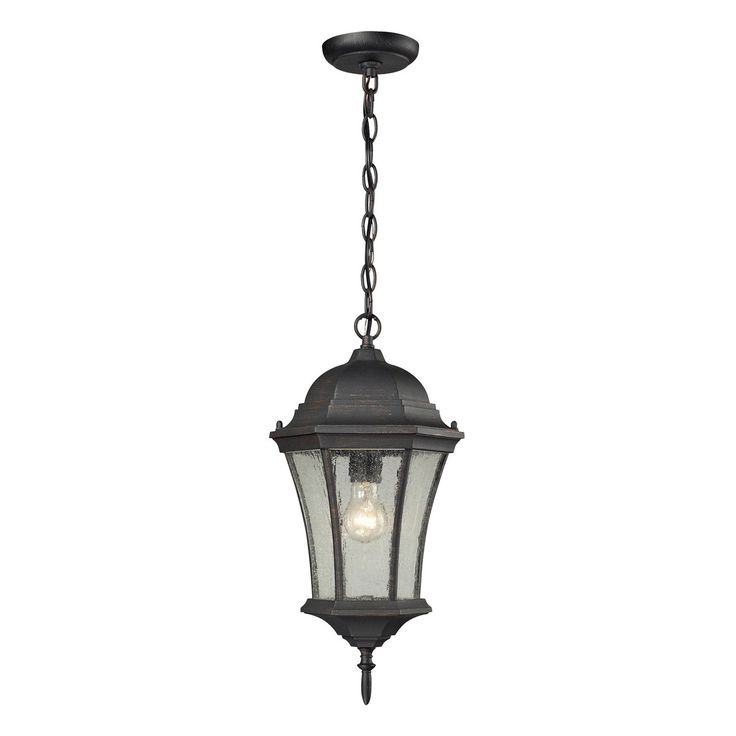 wellington park 1light outdoor pendant in weathered charcoal