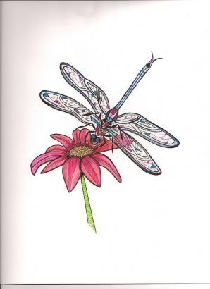 Free Tattoos Designs On Daisy Flower Tattoo With Dragonfly.