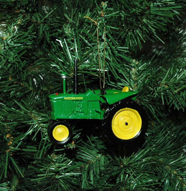 Jd Christmas Tree: Details About Green & Yellow Tractor Resin Christmas