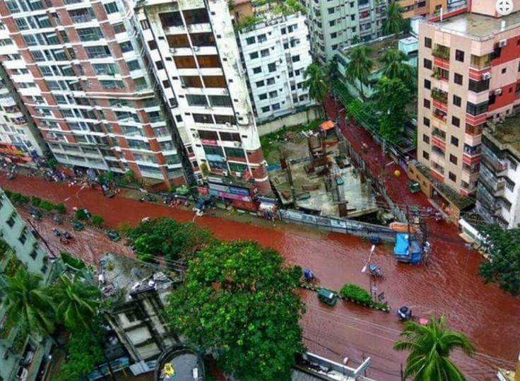 Dhaka, Bangladesh tiba-tiba saja banjir darah. Sejumlah foto beredar di media sosial. Ada apa?
