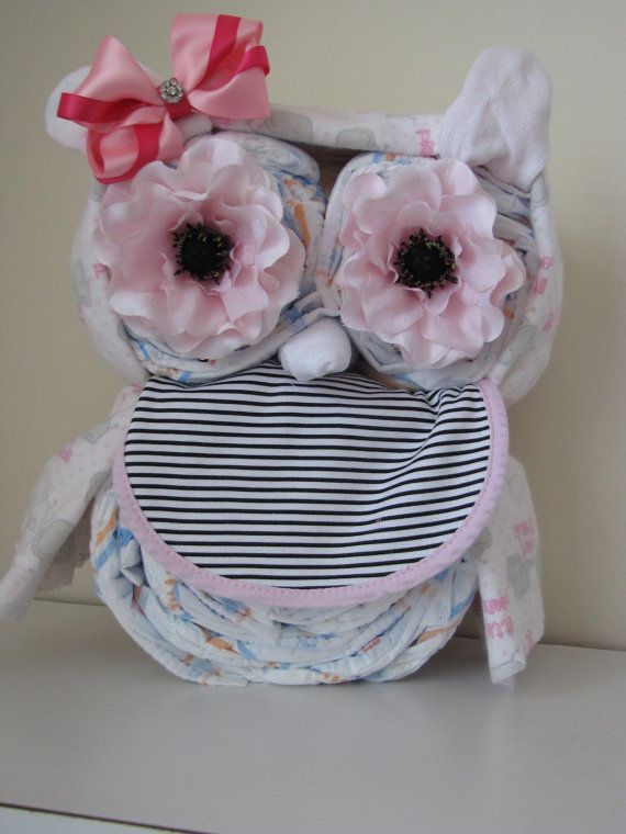 Girls Owl Diaper Cake/ Baby Shower by MyLittleDetailsShop on Etsy, $44.00 love this