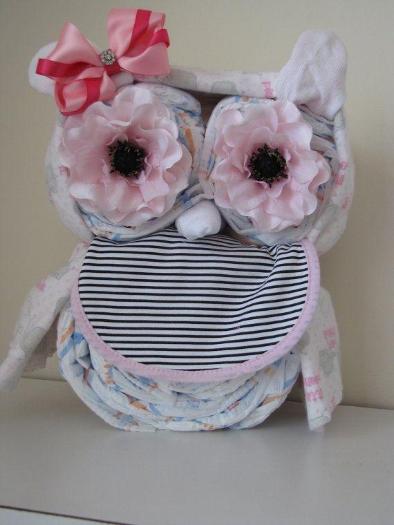 Mädchen Owl Diaper Cake... Eulen-Windeltorte...