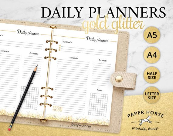 Gold glitter Daily planner printable PDF by PaperHorseDesign