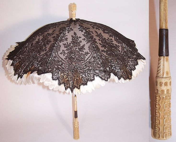 Victorian Antique Black Chantilly Lace Carved Masonic Eye of God Handle  Parasol