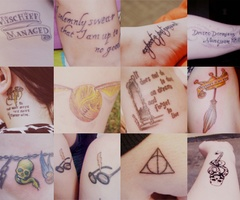Harry Potter Tattoos. I have the Deathly Hallows one on my person.