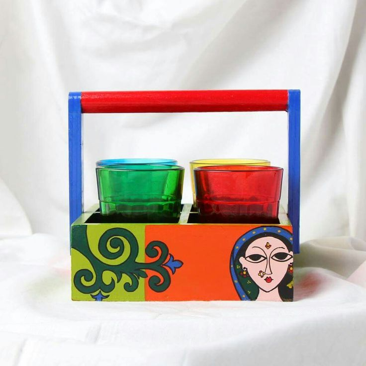 Katta Chai - Lotus Lady   Hand painted Tea set stand with tinted colored glasses.. Know more - www.akrazymug. com