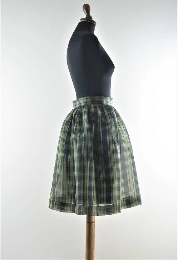 17def9f3a Vintage 50s style Talbots black green plaid silk skirt waist 27 knee length  pleated organza silk skirt felt poodle skirt…   Profit Panda   Best of Etsy