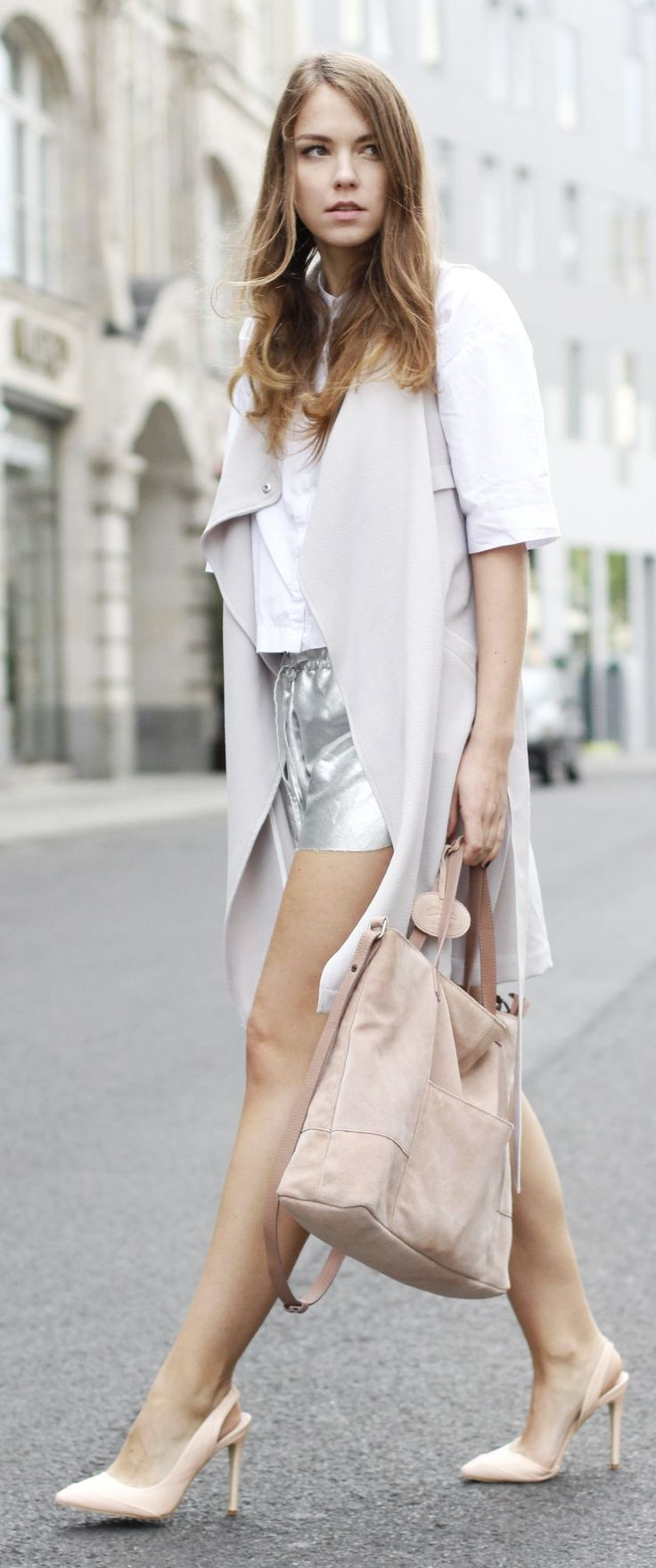 Silver Shorts Spring Style by Goldschnee