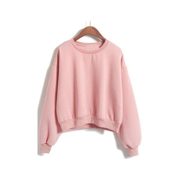 Round Neck Crop Loose Pink Sweatshirt ($14) ❤ liked on Polyvore featuring tops, hoodies, sweatshirts, sweaters, shirts, sweatshirt, pink, pink sweatshirt, long sleeve sweatshirt and pink shirt