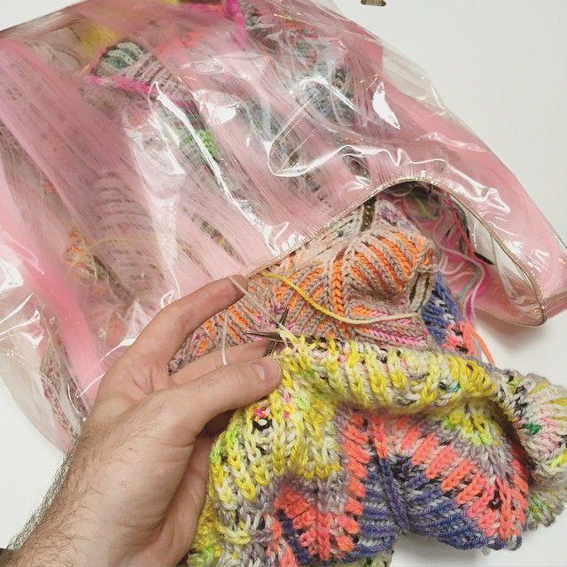 I got a new project bag to house my Briochevron blanket.