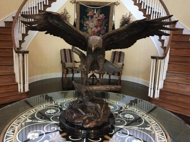 "Majestic Soaring Bronze Eagle Wingspan is 44"" Beautiful Detail Polished Talons"