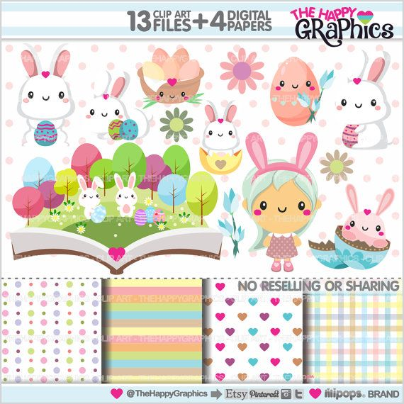 Easter Clipart Easter Graphics COMMERCIAL USE by TheHappyGraphics