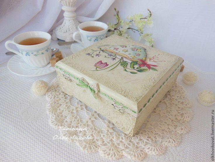 """Купить Шкатулка для чая """"Пробуждение весны"""" (зеленая лента), декупаж - коробка для чая, белый"""